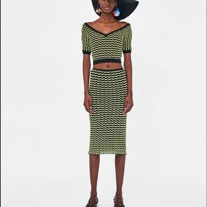 Zara Scalloped Trimmed Shirt & Skirt Set